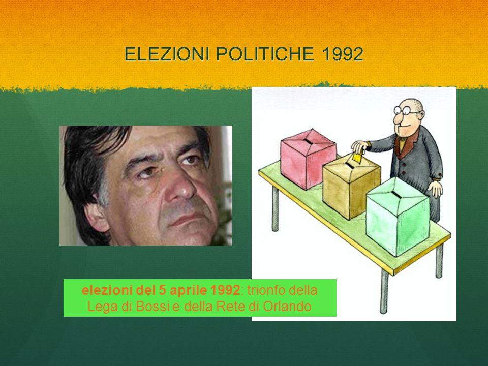 ELEZIONI POLITICHE 1992elezioni del 5 aprile 1992: trionfo della Lega di Bossi e della Rete di Orlando.