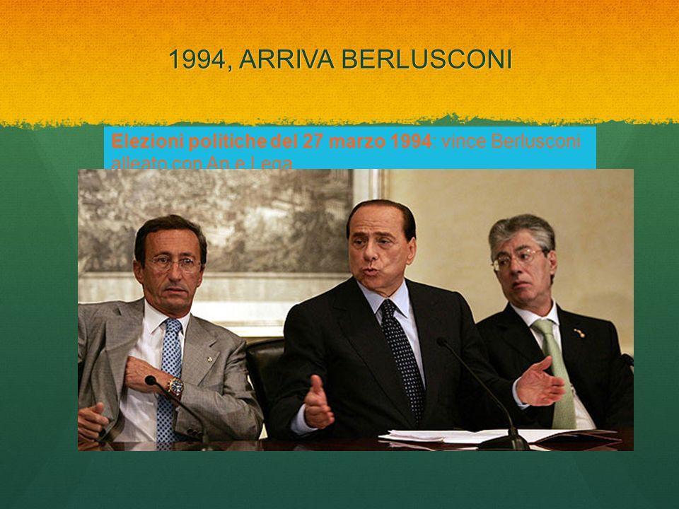 1994, ARRIVA BERLUSCONI Elezioni politiche del 27 marzo 1994: vince Berlusconi alleato con An e Lega.