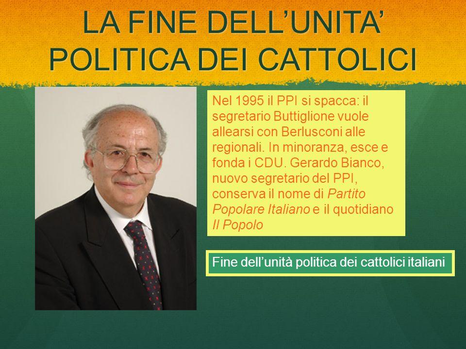 LA FINE DELL'UNITA' POLITICA DEI CATTOLICI