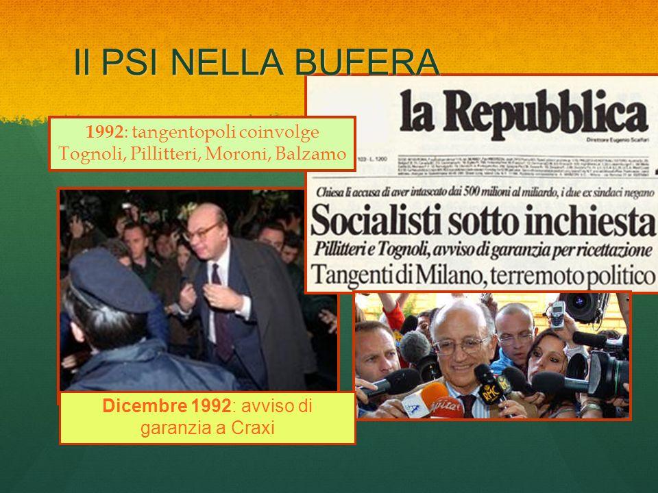 Il PSI NELLA BUFERA1992: tangentopoli coinvolge Tognoli, Pillitteri, Moroni, Balzamo.