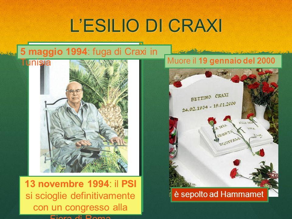 L'ESILIO DI CRAXI 5 maggio 1994: fuga di Craxi in Tunisia
