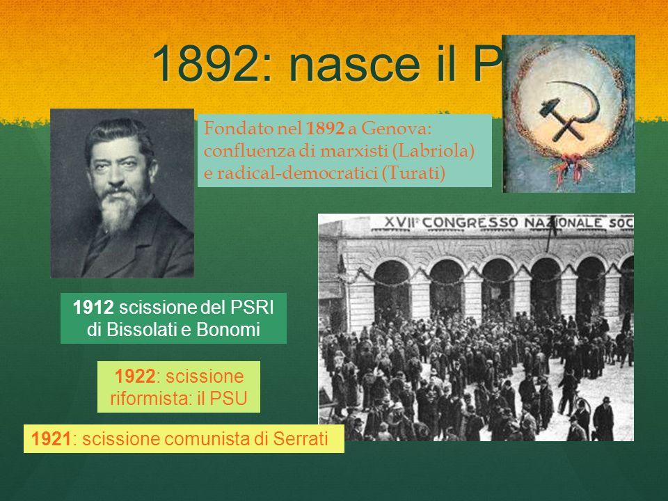 1892: nasce il PSI Fondato nel 1892 a Genova: confluenza di marxisti (Labriola) e radical-democratici (Turati)