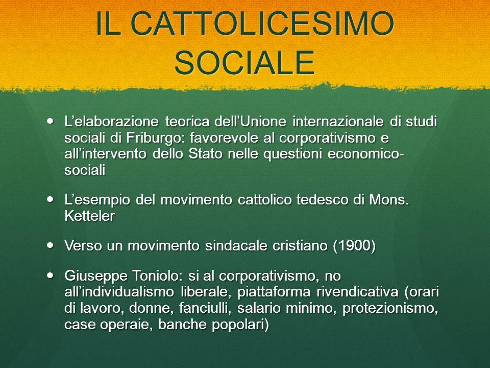 IL CATTOLICESIMO SOCIALE