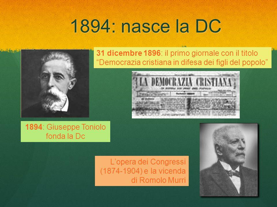 1894: Giuseppe Toniolo fonda la Dc