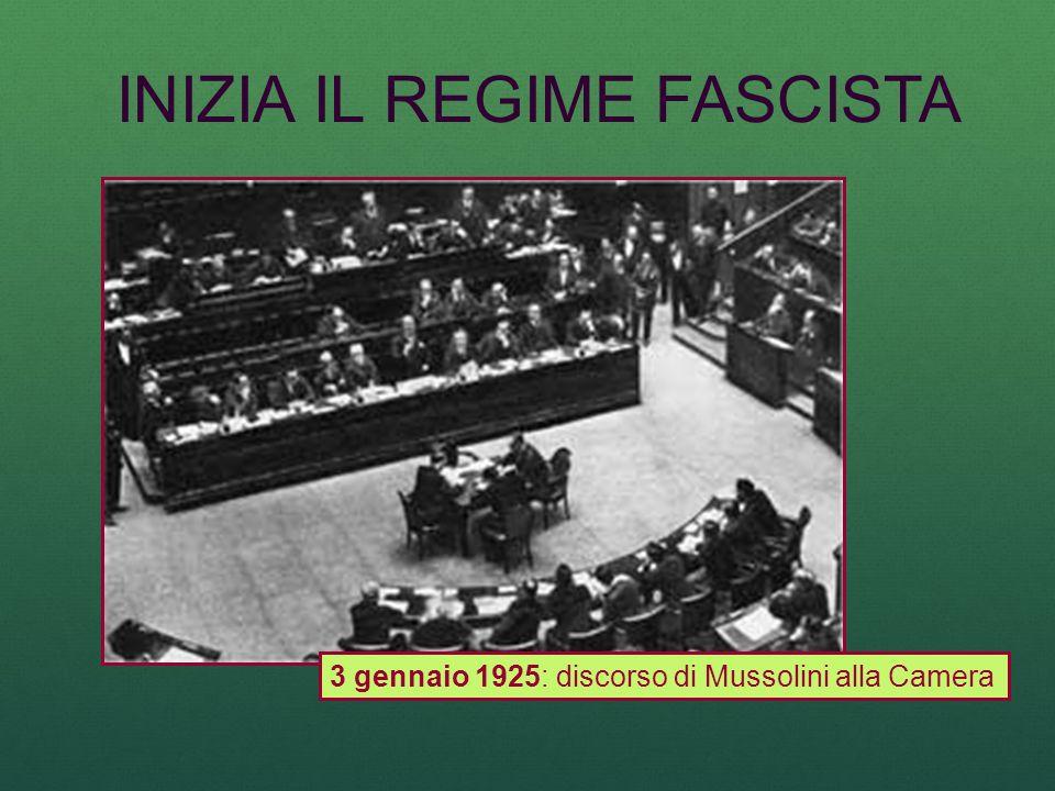 INIZIA IL REGIME FASCISTA