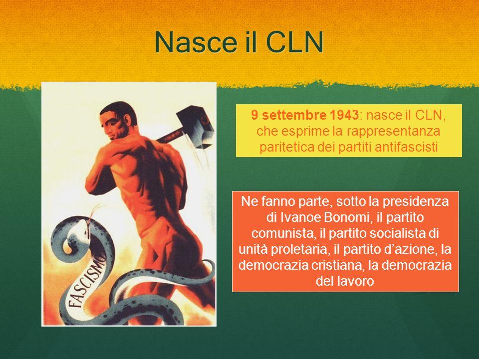 Nasce il CLN 9 settembre 1943: nasce il CLN, che esprime la rappresentanza paritetica dei partiti antifascisti.
