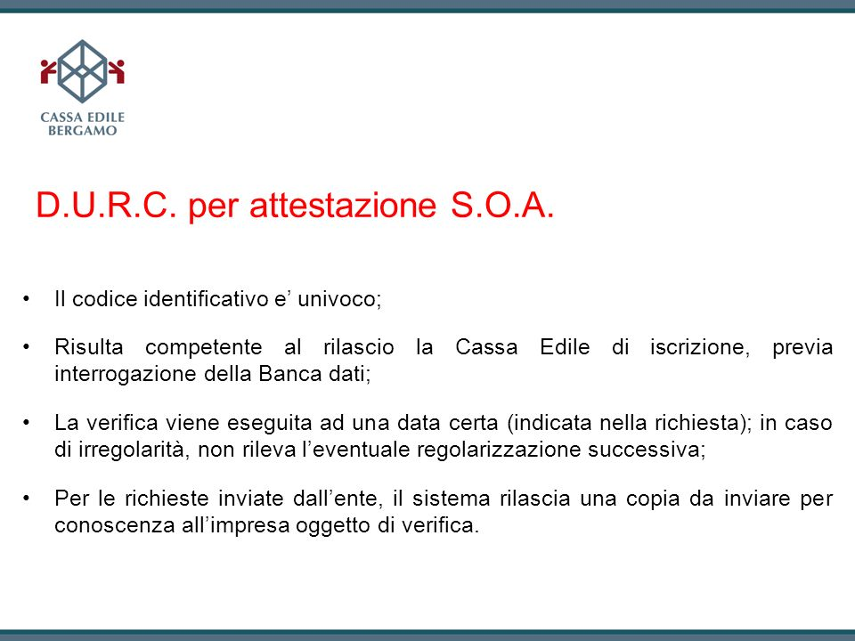 D.U.R.C. per attestazione S.O.A.