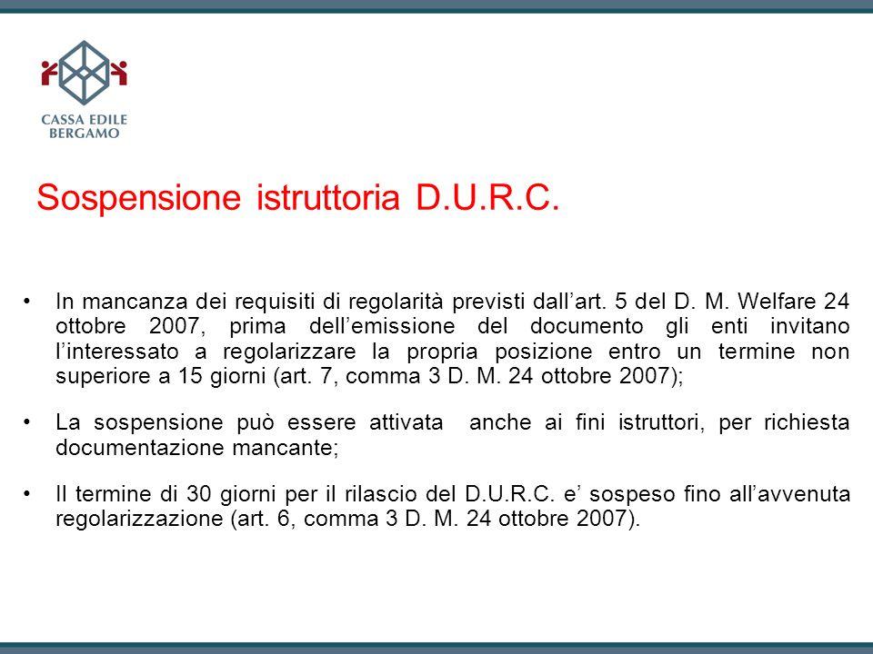 Sospensione istruttoria D.U.R.C.