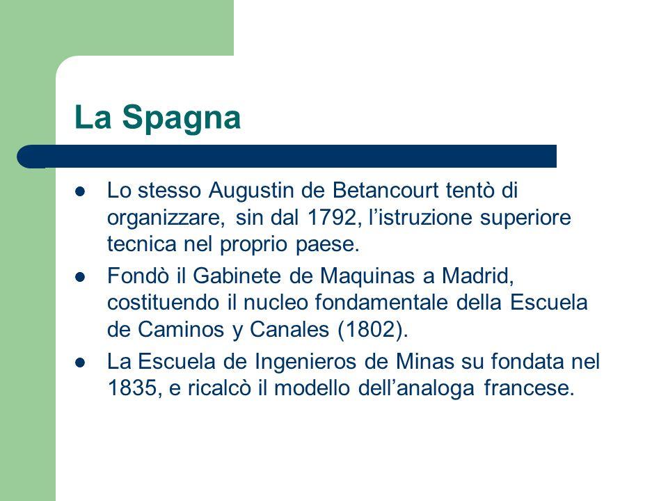 La Spagna Lo stesso Augustin de Betancourt tentò di organizzare, sin dal 1792, l'istruzione superiore tecnica nel proprio paese.