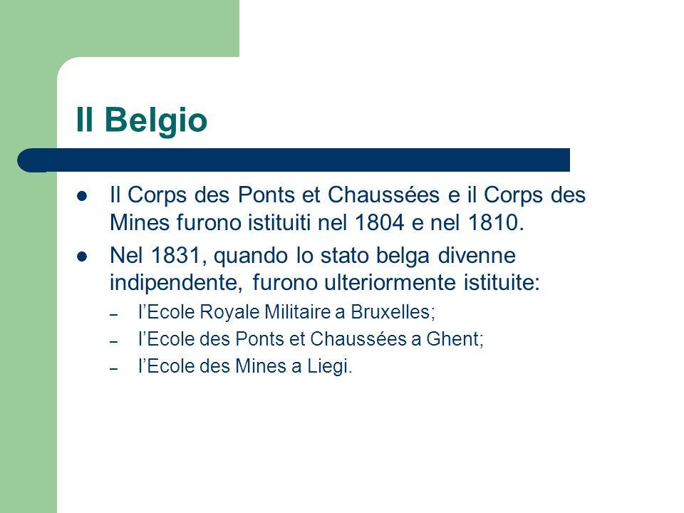 Il Belgio Il Corps des Ponts et Chaussées e il Corps des Mines furono istituiti nel 1804 e nel 1810.