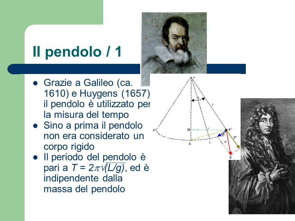 Il pendolo / 1 Grazie a Galileo (ca. 1610) e Huygens (1657) il pendolo è utilizzato per la misura del tempo.