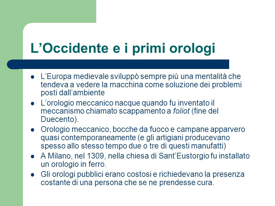 L'Occidente e i primi orologi