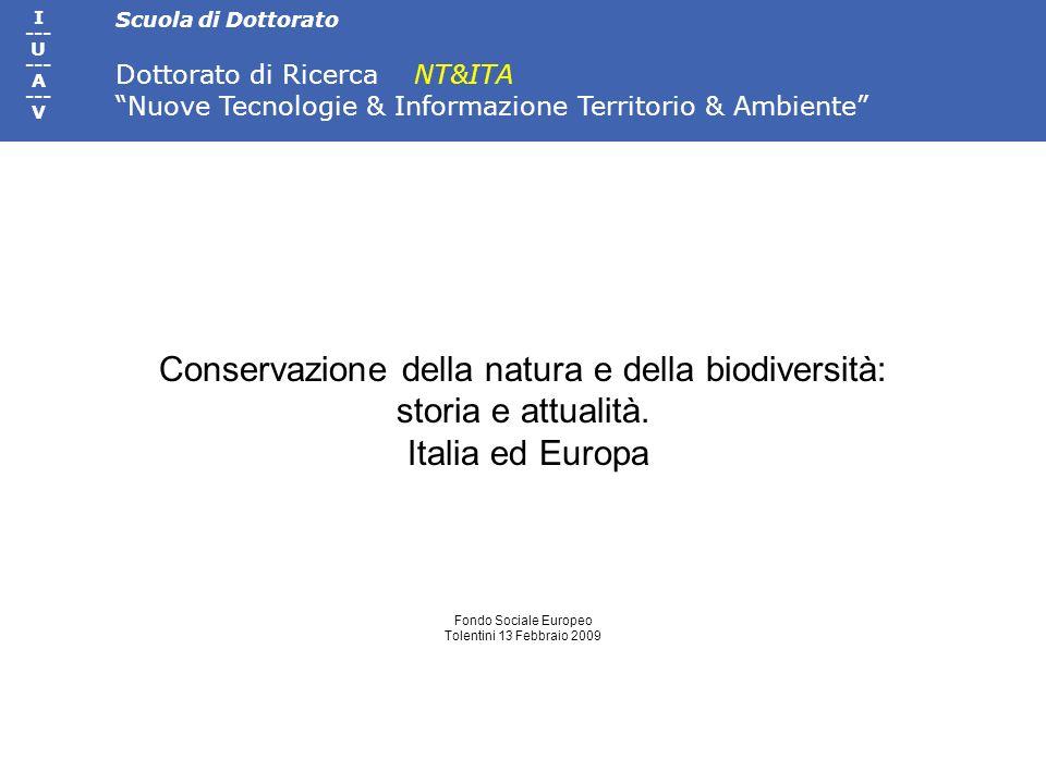 Conservazione della natura e della biodiversità: