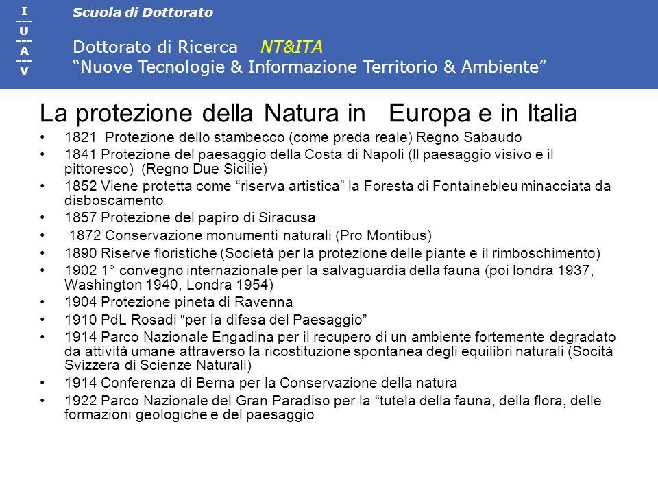 La protezione della Natura in Europa e in Italia
