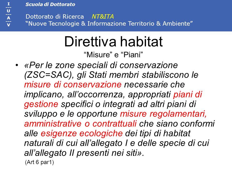 Direttiva habitat Misure e Piani
