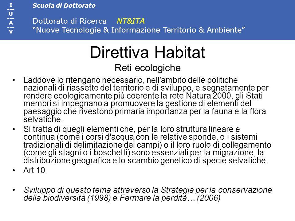 Direttiva Habitat Reti ecologiche