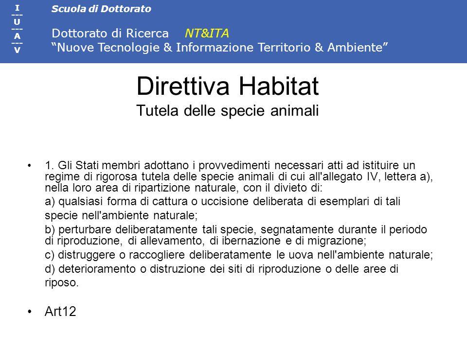 Direttiva Habitat Tutela delle specie animali