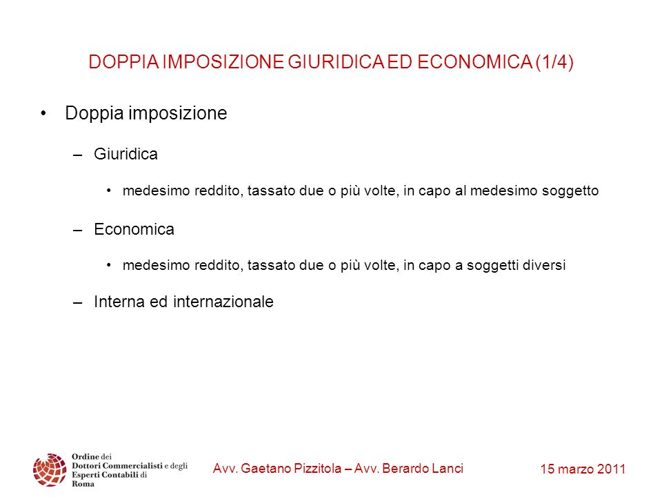 DOPPIA IMPOSIZIONE GIURIDICA ED ECONOMICA (1/4)