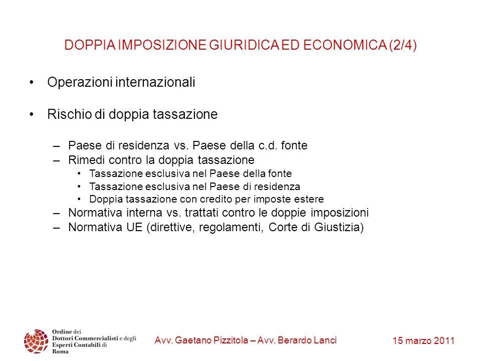 DOPPIA IMPOSIZIONE GIURIDICA ED ECONOMICA (2/4)