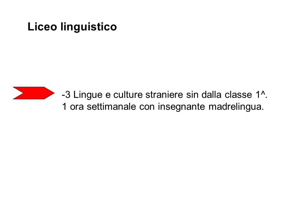 Liceo linguistico 3 Lingue e culture straniere sin dalla classe 1^.