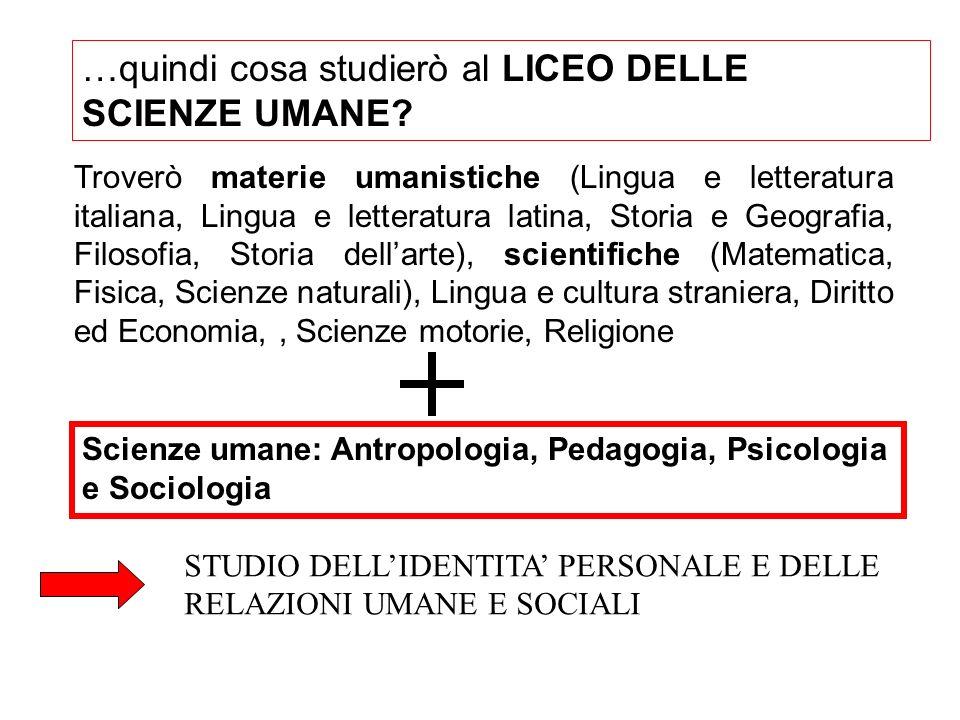 …quindi cosa studierò al LICEO DELLE SCIENZE UMANE