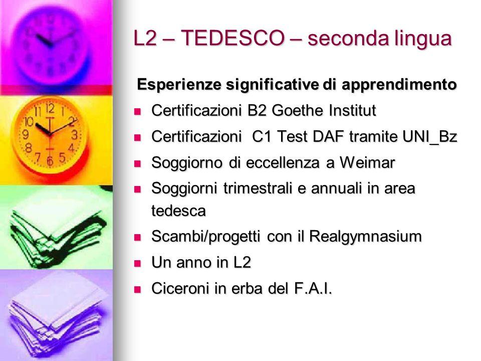 L2 – TEDESCO – seconda lingua