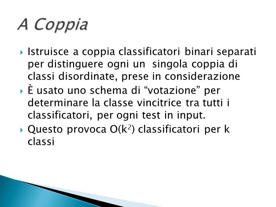 A Coppia Istruisce a coppia classificatori binari separati per distinguere ogni un singola coppia di classi disordinate, prese in considerazione.