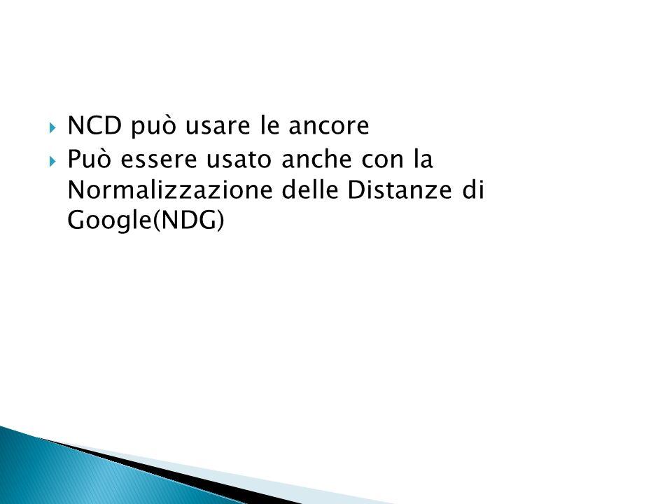 NCD può usare le ancore Può essere usato anche con la Normalizzazione delle Distanze di Google(NDG)