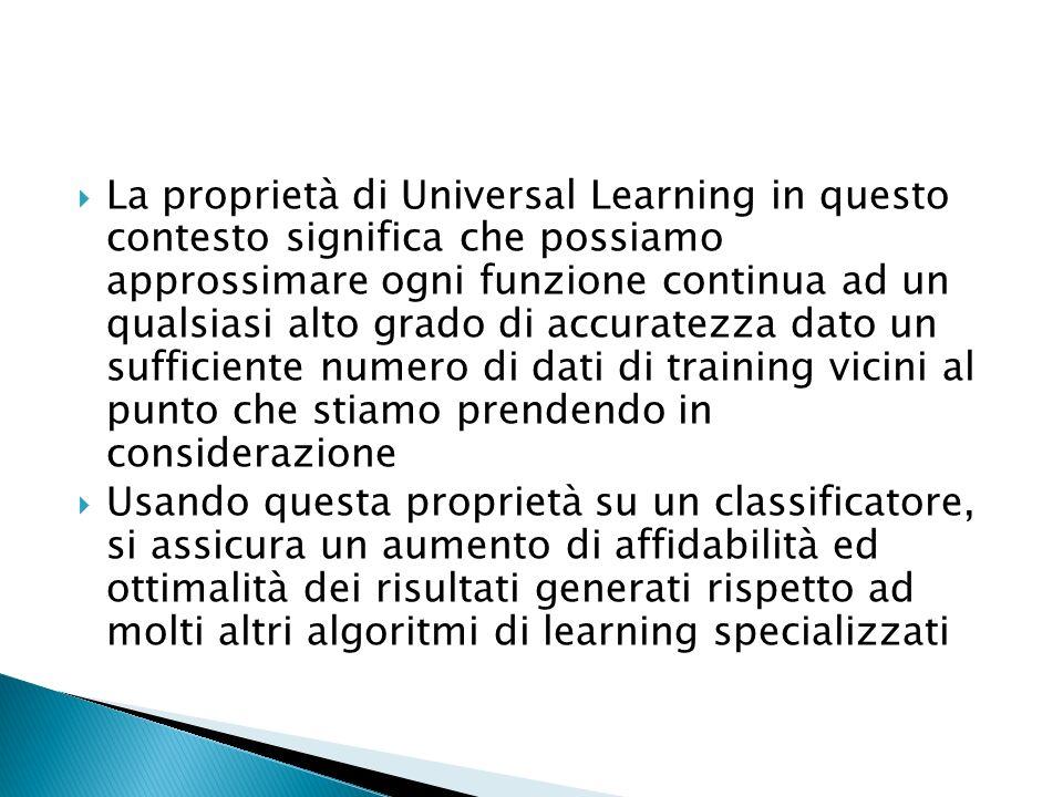 La proprietà di Universal Learning in questo contesto significa che possiamo approssimare ogni funzione continua ad un qualsiasi alto grado di accuratezza dato un sufficiente numero di dati di training vicini al punto che stiamo prendendo in considerazione
