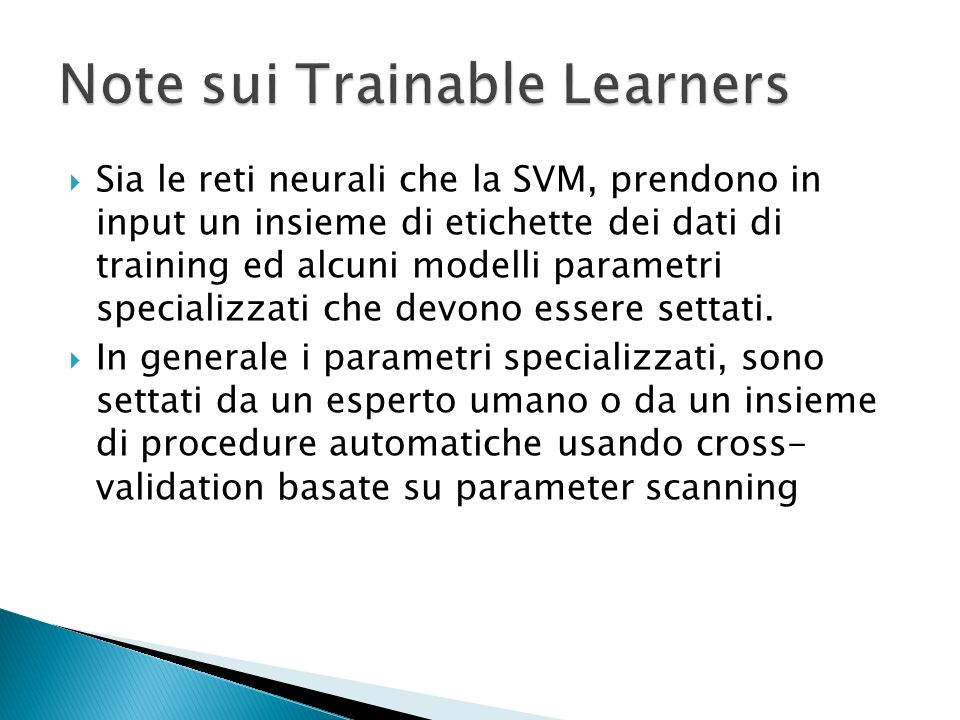 Note sui Trainable Learners