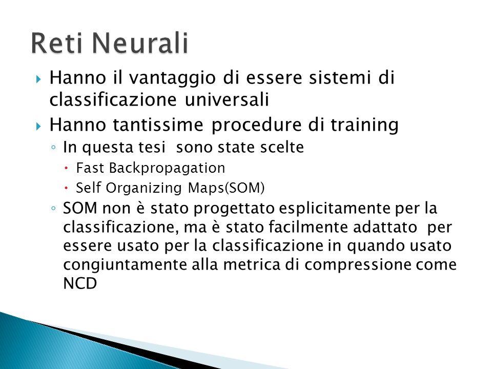 Reti Neurali Hanno il vantaggio di essere sistemi di classificazione universali. Hanno tantissime procedure di training.