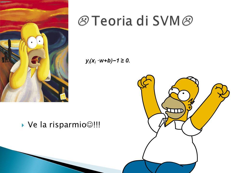  Teoria di SVM yi(xi ·w+b)−1 ≥ 0. Ve la risparmio!!!