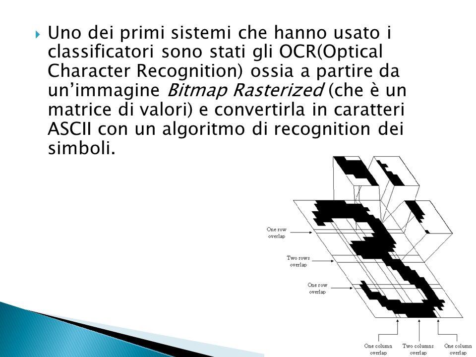 Uno dei primi sistemi che hanno usato i classificatori sono stati gli OCR(Optical Character Recognition) ossia a partire da un'immagine Bitmap Rasterized (che è un matrice di valori) e convertirla in caratteri ASCII con un algoritmo di recognition dei simboli.