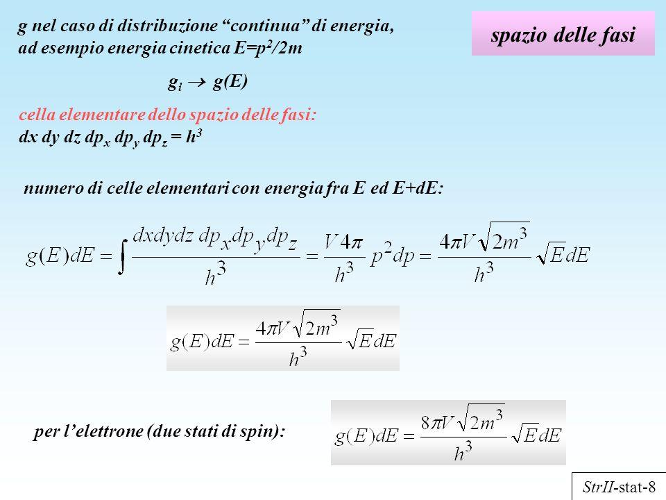 g nel caso di distribuzione continua di energia, ad esempio energia cinetica E=p2/2m