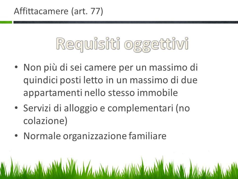 Affittacamere (art. 77) Requisiti oggettivi.