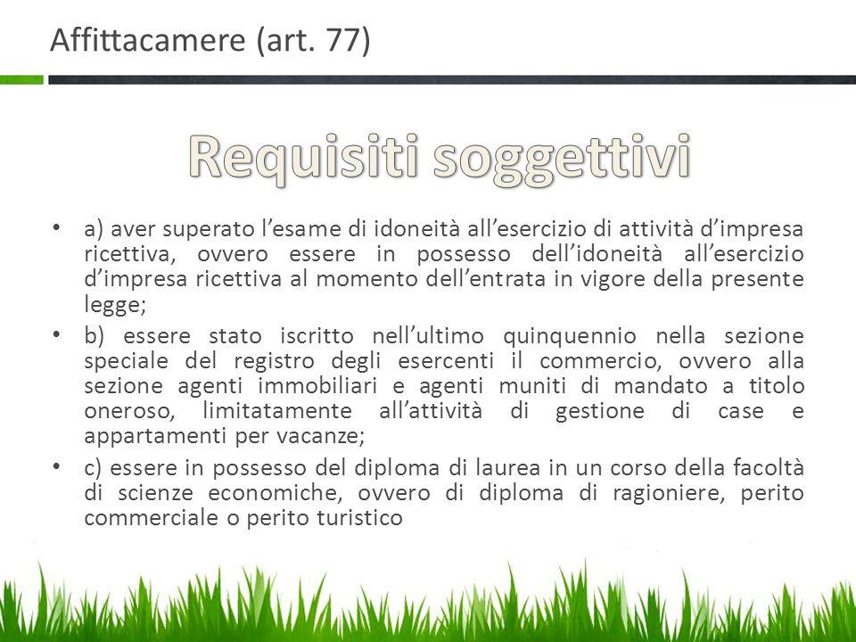 Requisiti soggettivi Affittacamere (art. 77)