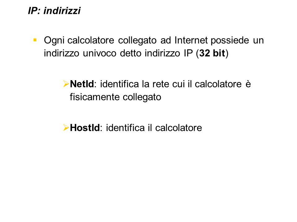 IP: indirizzi Ogni calcolatore collegato ad Internet possiede un indirizzo univoco detto indirizzo IP (32 bit)