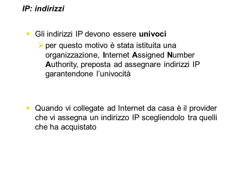 IP: indirizzi Gli indirizzi IP devono essere univoci.