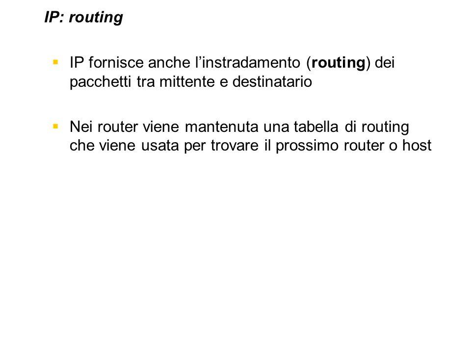 IP: routing IP fornisce anche l'instradamento (routing) dei pacchetti tra mittente e destinatario.