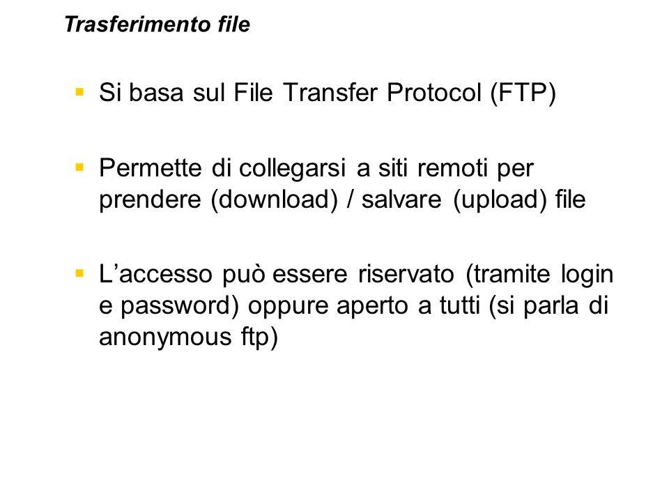 Si basa sul File Transfer Protocol (FTP)