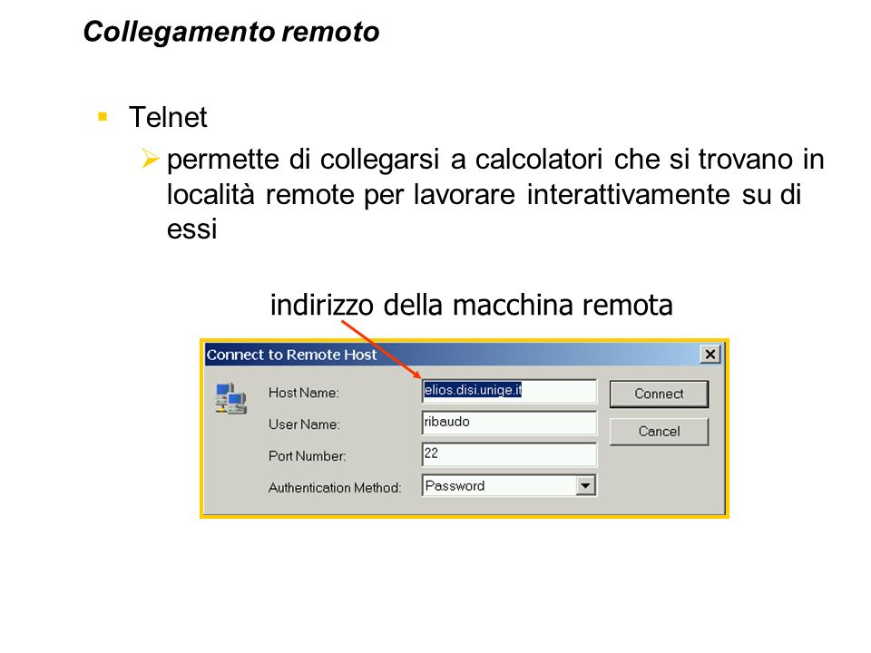 Collegamento remoto Telnet. permette di collegarsi a calcolatori che si trovano in località remote per lavorare interattivamente su di essi.