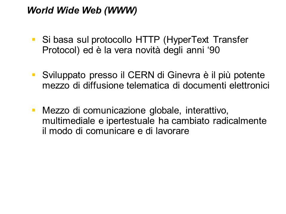 World Wide Web (WWW) Si basa sul protocollo HTTP (HyperText Transfer Protocol) ed è la vera novità degli anni '90.