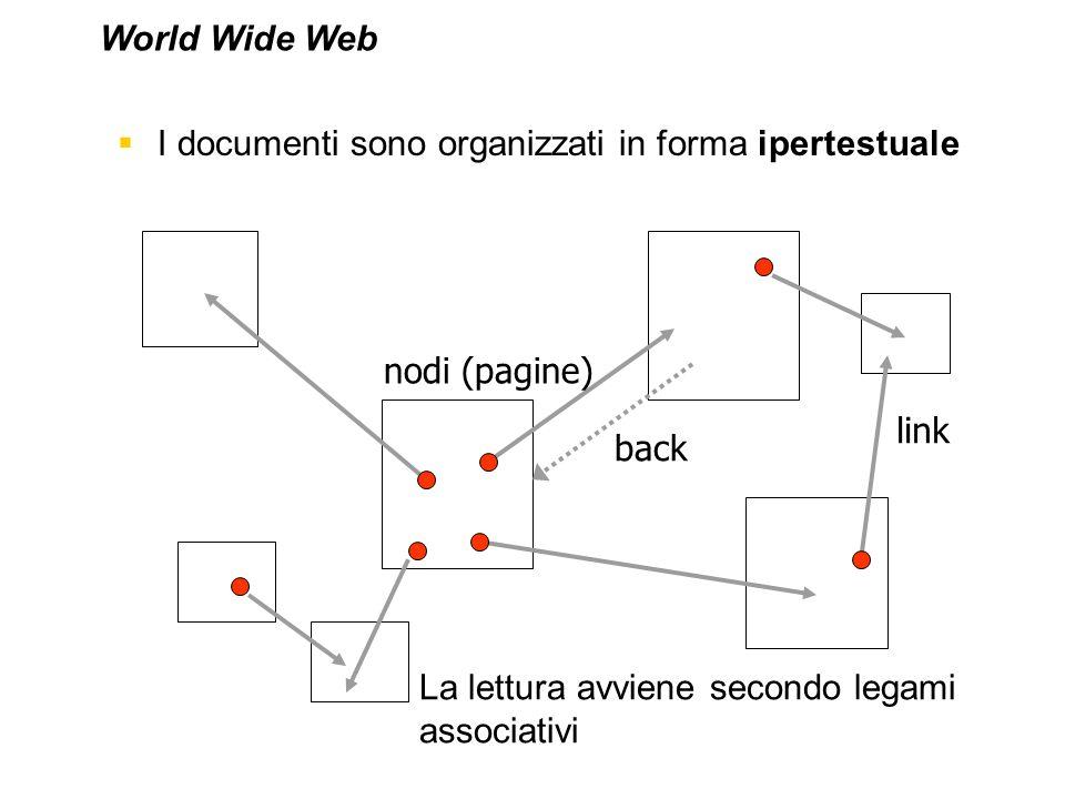 World Wide Web I documenti sono organizzati in forma ipertestuale.