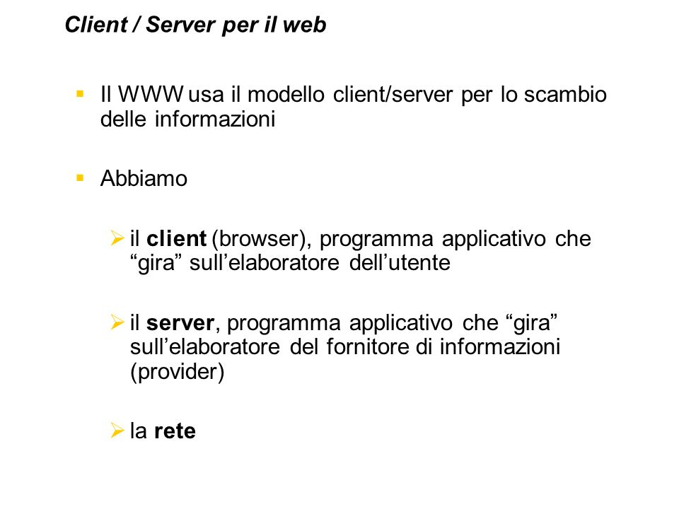 Client / Server per il web