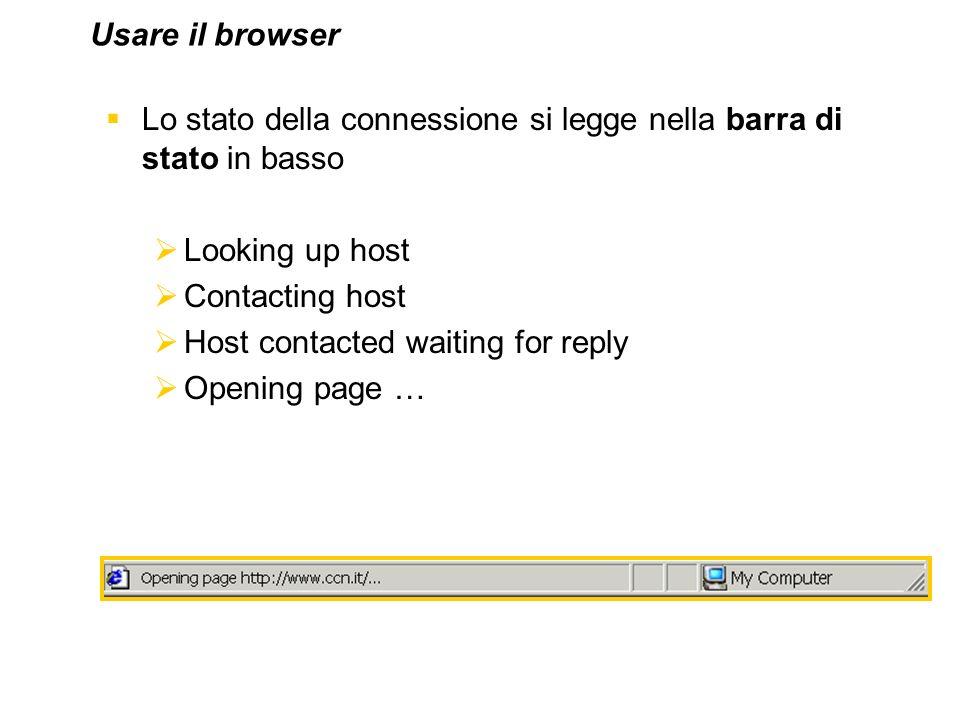 Usare il browser Lo stato della connessione si legge nella barra di stato in basso. Looking up host.