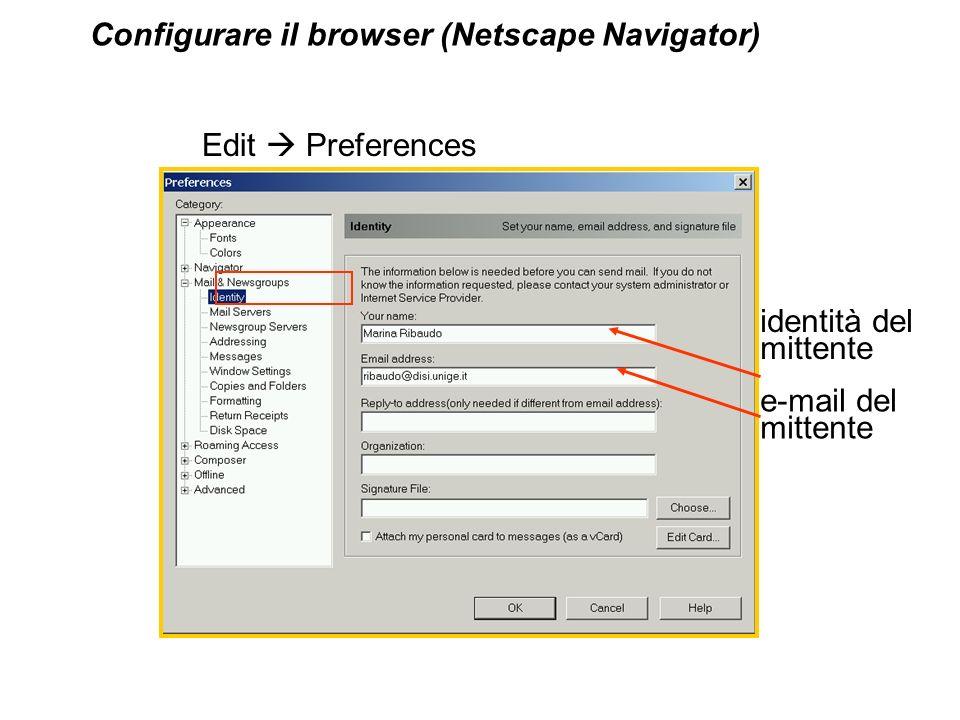 Configurare il browser (Netscape Navigator)