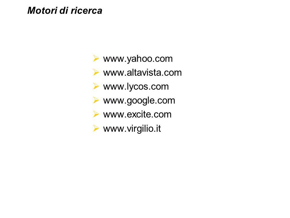 Motori di ricerca www.yahoo.com. www.altavista.com. www.lycos.com. www.google.com. www.excite.com.