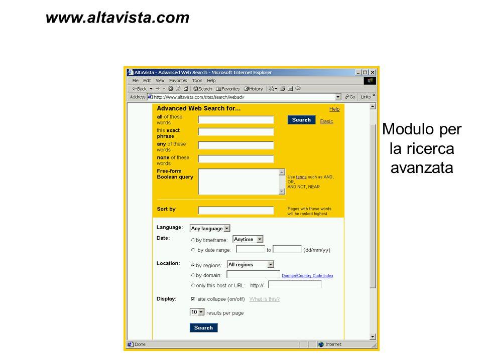 www.altavista.com Modulo per la ricerca avanzata