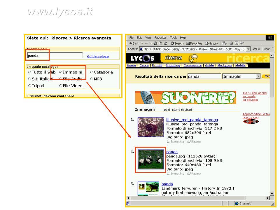 www.lycos.it Ricerca avanzata in www.lycos.it per trovare le immagini