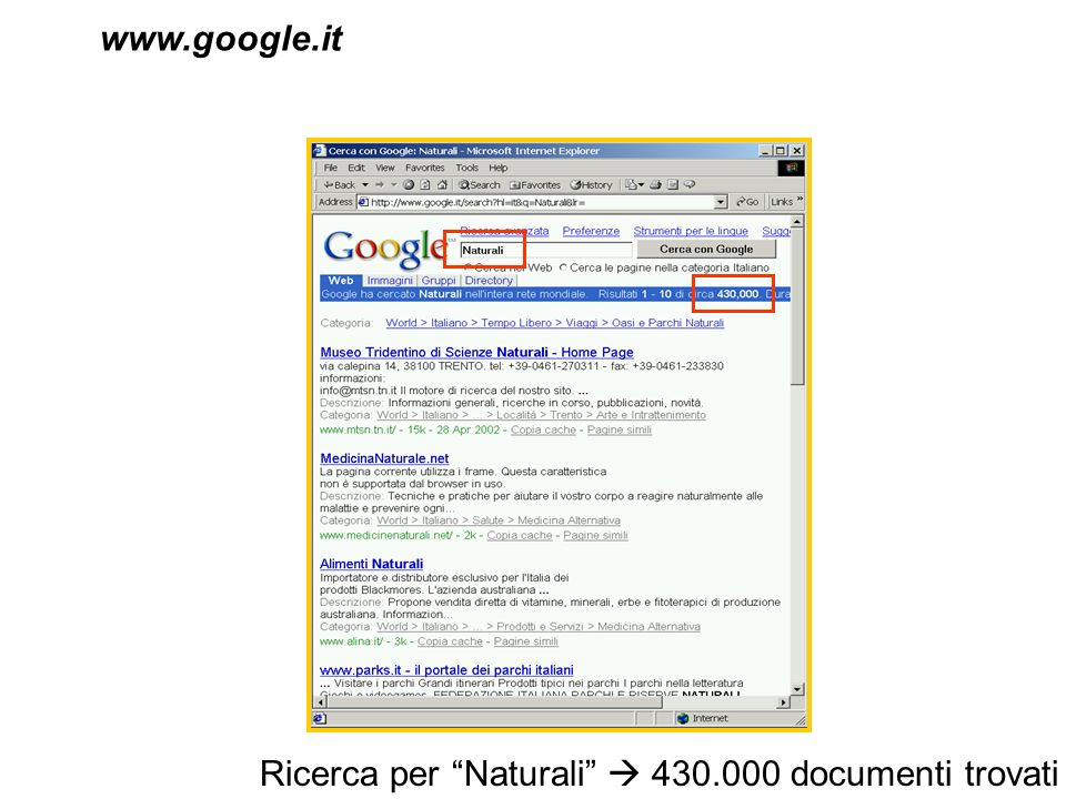 www.google.it Ricerca per Naturali  430.000 documenti trovati